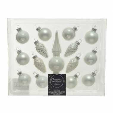 Winter witte glazen kerstballen en piek set voor mini kerstboom 15-dlg