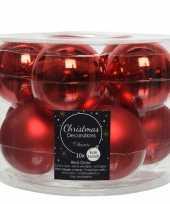 10x kerst rode glazen kerstballen 6 cm glans en mat