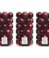 111x donkerrode kerstballen 6 cm glanzende matte glitter kunststof plastic kerstversiering