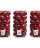 111x kerst rode kerstballen 6 cm glanzende matte glitter kunststof plastic kerstversiering