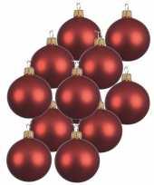 12x kerst rode kerstballen 10 cm matte glas kerstversiering