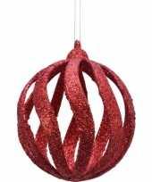 12x open kerstballen rood met glitters 8 cm kunststof