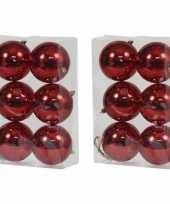 12x rode kerstballen 10 cm glanzende kunststof plastic kerstversiering