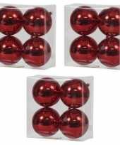 12x rode kerstballen 12 cm glanzende kunststof plastic kerstversiering