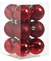 12x rode kerstballen 6 cm glanzende matte kunststof plastic kerstversiering