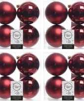 16x donkerrode kerstballen 10 cm glanzende matte kunststof plastic kerstversiering