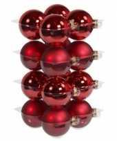 16x rode kerstballen 8 cm glas kerstversiering