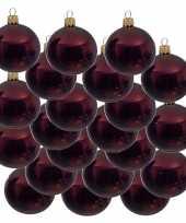 18x donkerrode kerstballen 6 cm glanzende glas kerstversiering