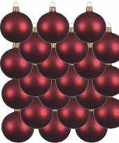 18x donkerrode kerstballen 6 cm matte glas kerstversiering