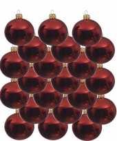 18x kerst rode kerstballen 8 cm glanzende glas kerstversiering