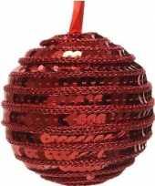 1x kerst rode kerstballen 8 cm pailletten foam kunststof plastic kerstversiering