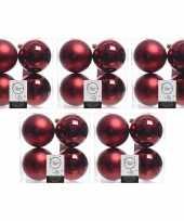 20x donkerrode kerstballen 10 cm glanzende matte kunststof plastic kerstversiering