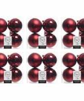 24x donkerrode kerstballen 10 cm glanzende matte kunststof plastic kerstversiering