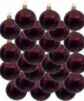 24x donkerrode kerstballen 8 cm glanzende glas kerstversiering