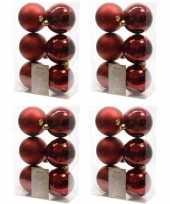24x donkerrode kerstballen 8 cm glanzende matte kunststof plastic kerstversiering