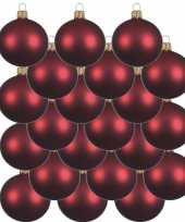 24x donkerrode kerstballen 8 cm matte glas kerstversiering
