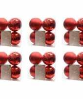 24x kerst rode kerstballen 10 cm glanzende matte kunststof plastic kerstversiering