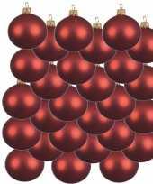 24x kerst rode kerstballen 6 cm matte glas kerstversiering