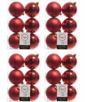 24x kerst rode kerstballen 8 cm glanzende matte kunststof plastic kerstversiering