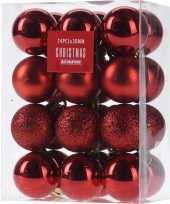 24x rode kerstballen 3 cm glanzende matte glitters kunststof kerstversiering