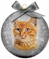 2x kunststof dieren kerstballen met rode kat poes 8 cm
