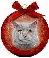 2x kunststof rode dieren kerstballen met grijze kat poes 8 cm