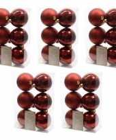 30x donkerrode kerstballen 8 cm glanzende matte kunststof plastic kerstversiering