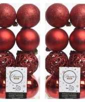 32x kerst rode kerstballen 6 cm glanzende matte glitter kunststof plastic kerstversiering