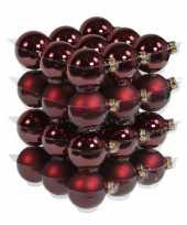 36x bordeaux rode kerstballen mat glans 6 cm glas kerstversiering