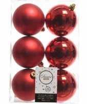 36x kerst rode kerstballen 8 cm glanzende matte kunststof plastic kerstversiering 10237919