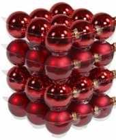 36x rode kerstballen 6 cm glas kerstversiering