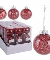 3x rode kerstballen 8 cm glitter kunststof kerstversiering