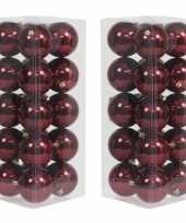 40x bordeaux rode kerstballen 8 cm glanzende kunststof plastic kerstversiering