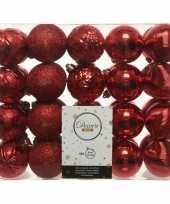 40x rode kerstballen 6 cm glanzende glitter kunststof plastic kerstversiering