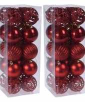 40x rode kerstballen 6 cm glanzende matte glitters kunststof kerstversiering