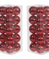 40x rode kerstballen 8 cm glanzende kunststof plastic kerstversiering