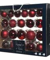 42x donkerrode kerstballen 5 6 7 cm glanzende matte glas kerstversiering