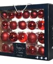 42x kerst rode kerstballen 5 6 7 cm glanzende matte glas kerstversiering