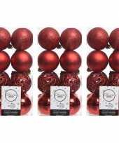 48x kerst rode kerstballen 6 cm glanzende matte glitter kunststof plastic kerstversiering
