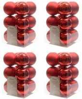 48x kerst rode kerstballen 6 cm glanzende matte kunststof plastic kerstversiering