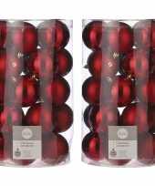 50x kunststof kerstballen rood 8 cm