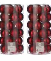 60x kunststof kerstballen rood 6 cm