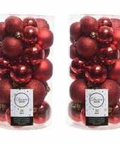 60x rode kerstballen 4 5 6 cm glanzende matte glitter kunststof plastic kerstversiering