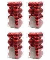 64x kerst rode kerstballen 4 cm glanzende matte kunststof plastic kerstversiering