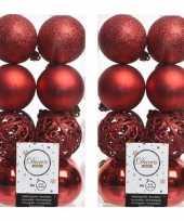 64x kerst rode kerstballen 6 cm glanzende matte glitter kunststof plastic kerstversiering