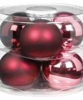 6x berry kiss mix roze rode glazen kerstballen 10 cm glans en mat