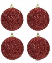 6x kerst rode kerstballen 8 cm glitters kraaltjes kunststof kerstversiering