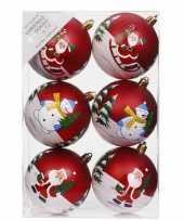 6x kerstballen rood met print 8 cm voor kinderen