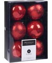 6x kerstboomversiering luxe kunststof kerstballen rood 8 cm