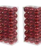 72x rode kerstballen 6 cm glanzende kunststof plastic kerstversiering